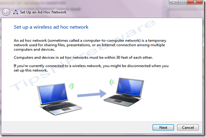 setup wireless network to share internet connection