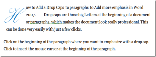 Add Drop Caps to paragraphs In Word
