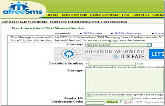 Send Free SMS To Anywhere In The World
