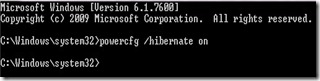 Hibernate Option button Missing in Windows 7
