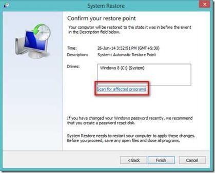 system restore in windows 8