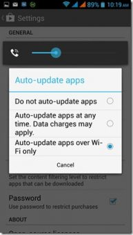 stop apps from updating automatically on Android